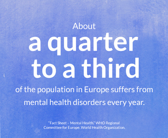 About a quarter to a third of the population in Europe suffers from mental health disorders every year